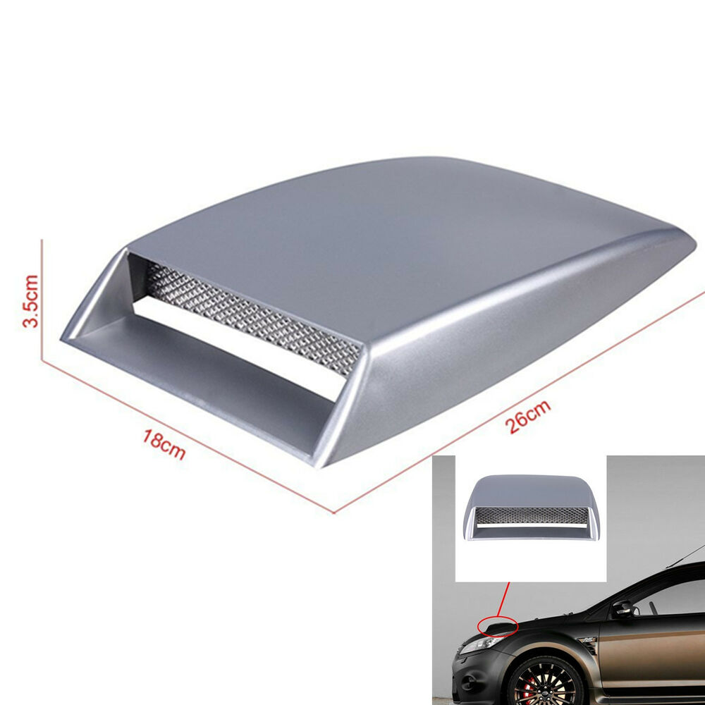 3d Air Flow Intake Front Hood Scoop Vent Bonnet Cover Silver Car Suv Universal Ebay