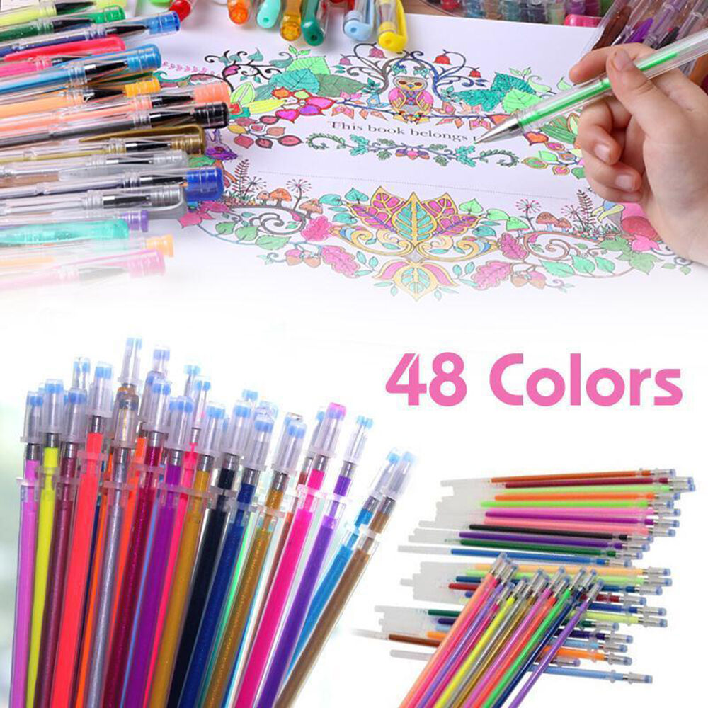 48 Colors Gel Pens Glitter Coloring Drawing Painting Craft