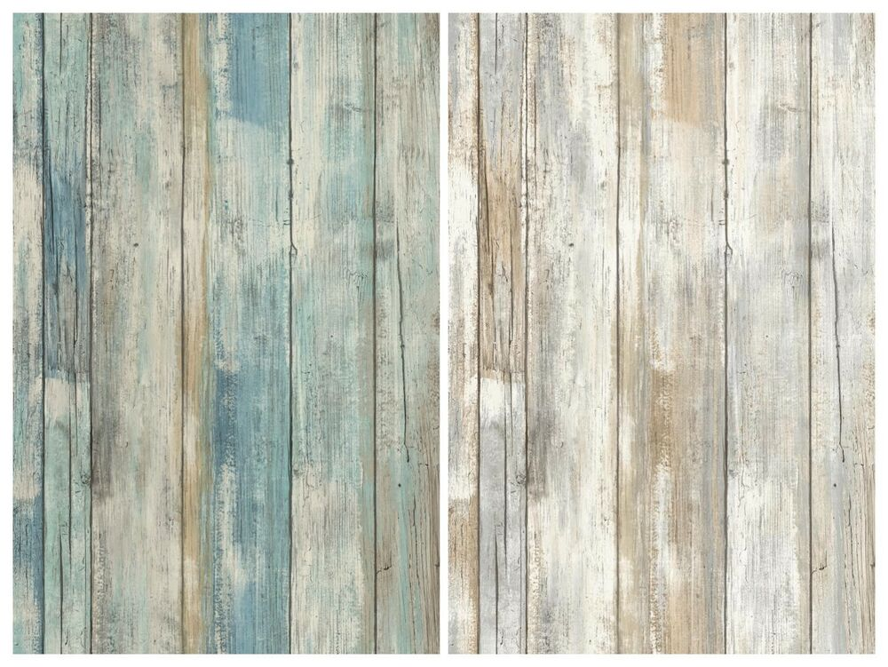 Distressed wood peel and stick wallpaper gray brown white for Wood wallpaper for walls