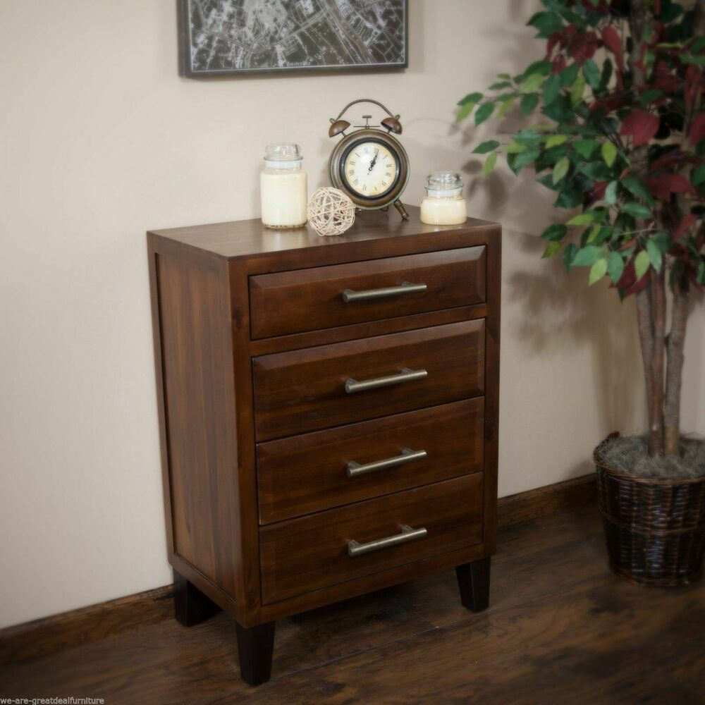 Wood Table Dresser ~ Bedroom furniture brown mahogany solid wood four drawer