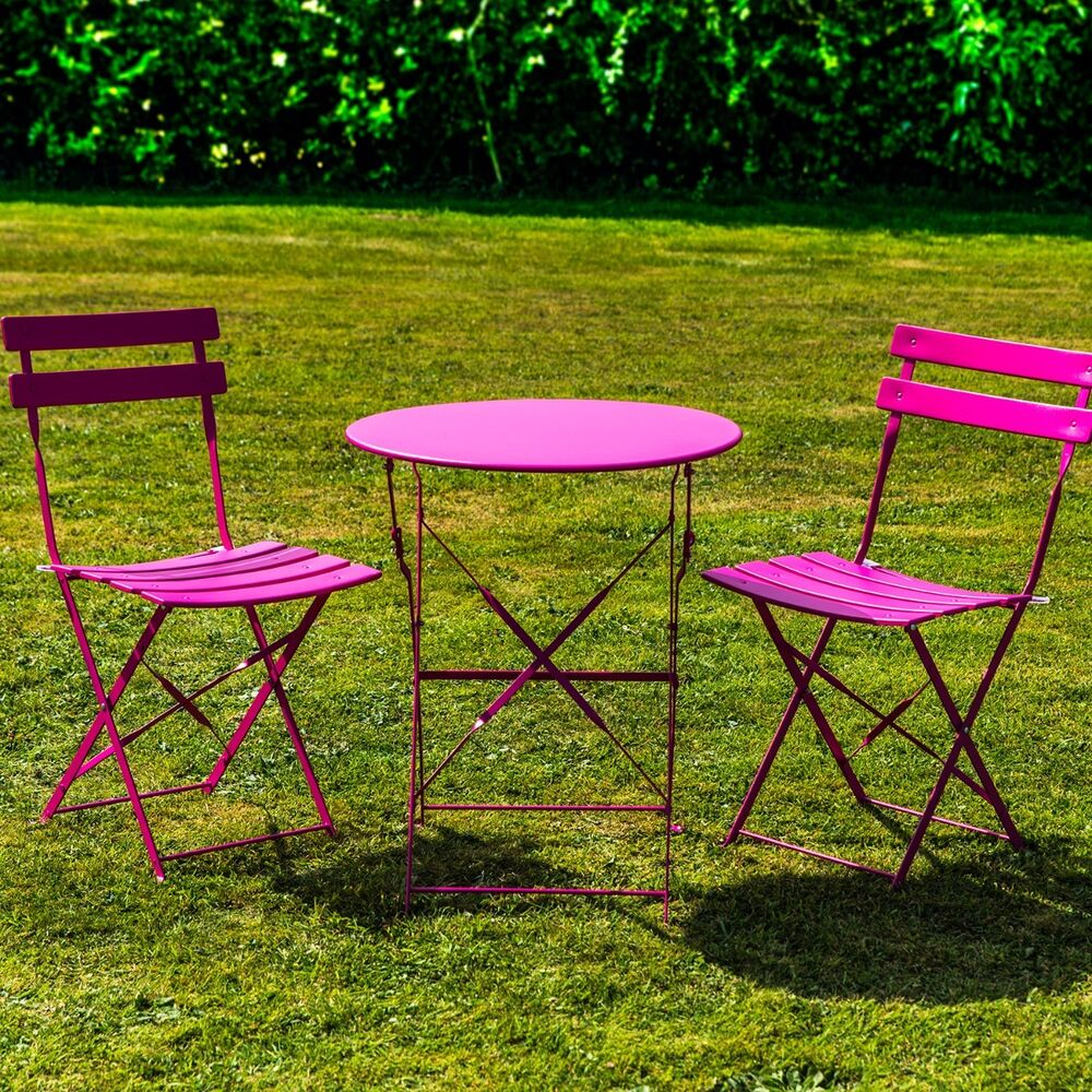 3 piece pink metal bistro set folding patio outdoor garden for Outdoor garden set
