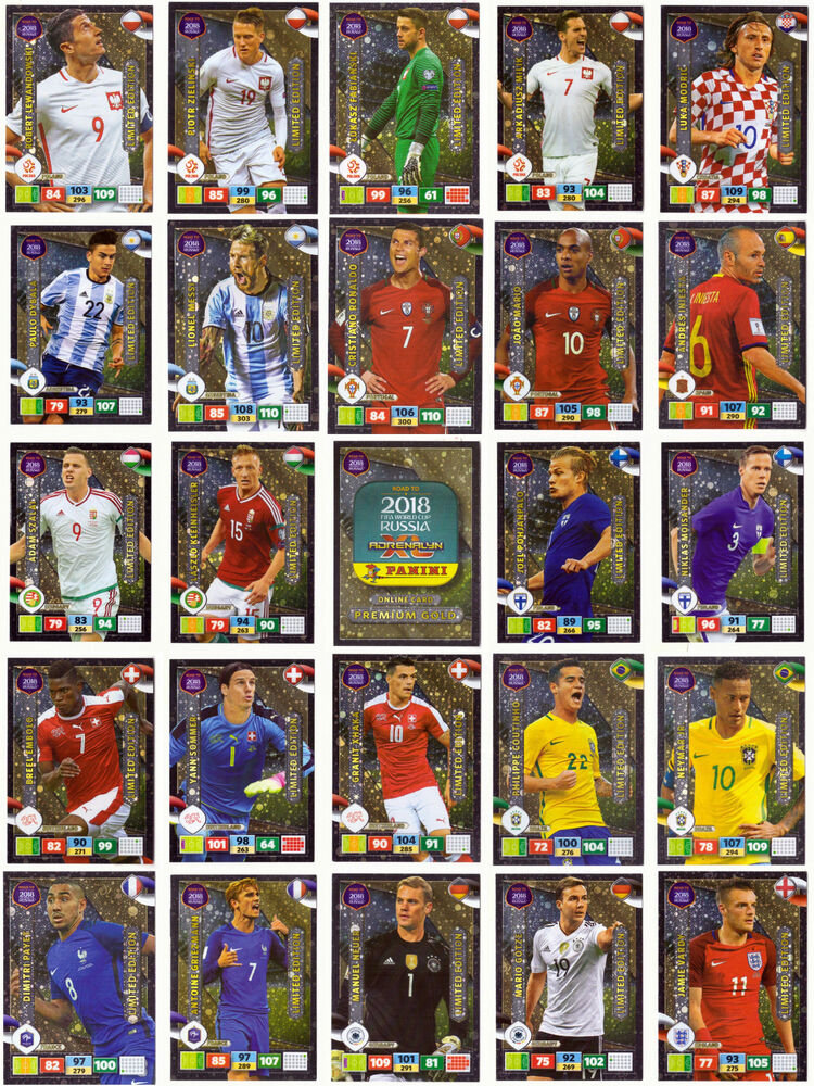 Panini Road To World Cup 2018 Russia Limited Edition Cards