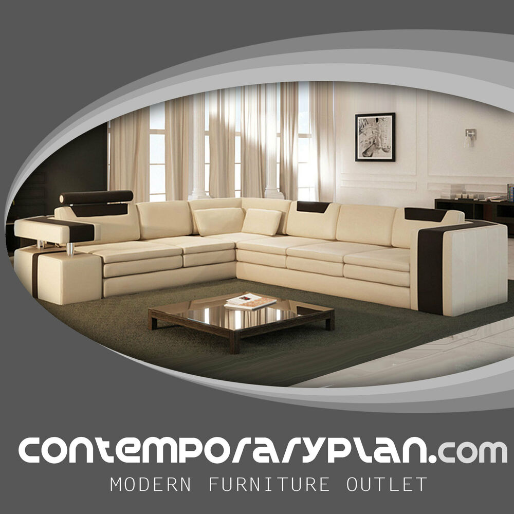 Vista Modern Italian Design Leather Sectional Sofa With Contrasting