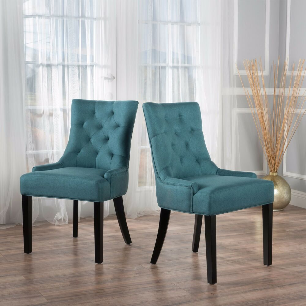 Set Of 2 Dining Chairs: Stacy Fabric Diamond Tufted Back Dining Chairs (Set Of 2