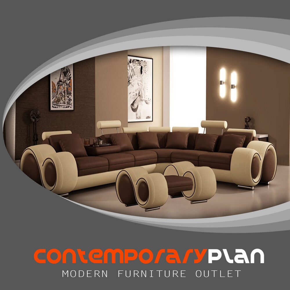 Brown And Beige Franco Sectional Sofa With Ottoman Modern Italian