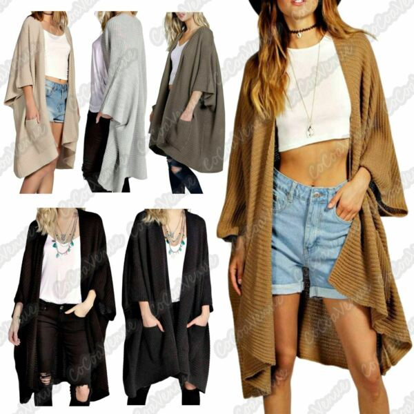 New Ladies Baggy Oversized Chunky Knitted Long Jumpers Pocket Cardigans Cape Top