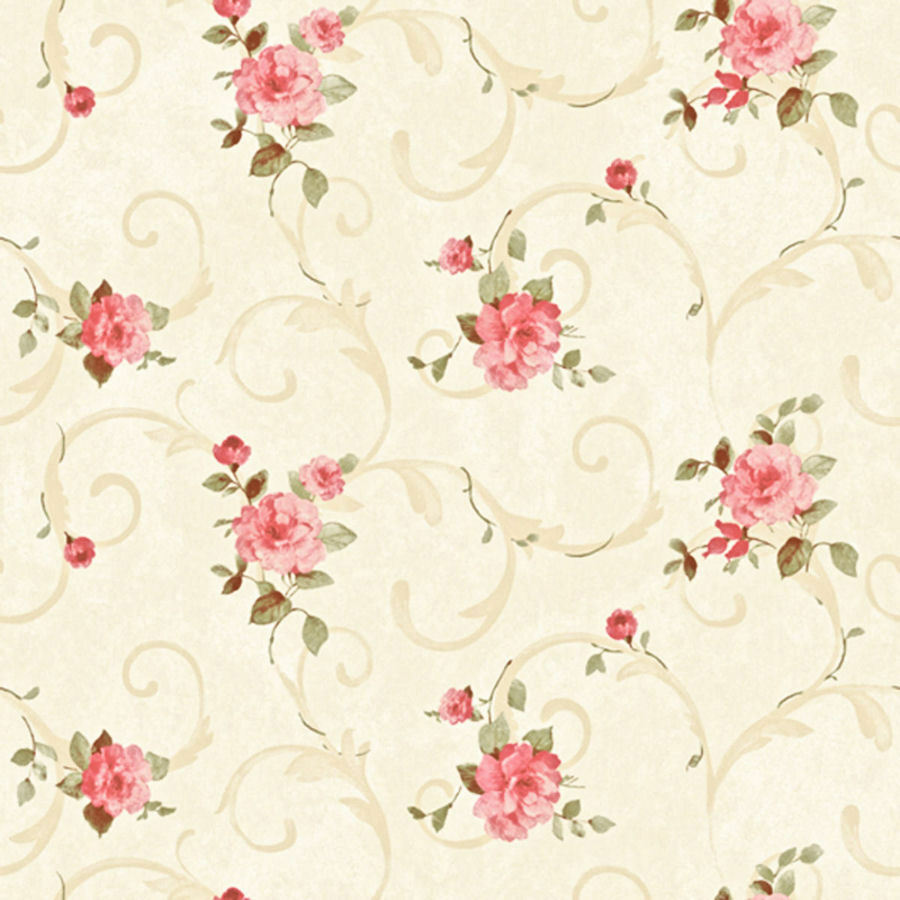 Dollhouse Miniature Shabby Chic Wallpaper Pink & Tan Roses