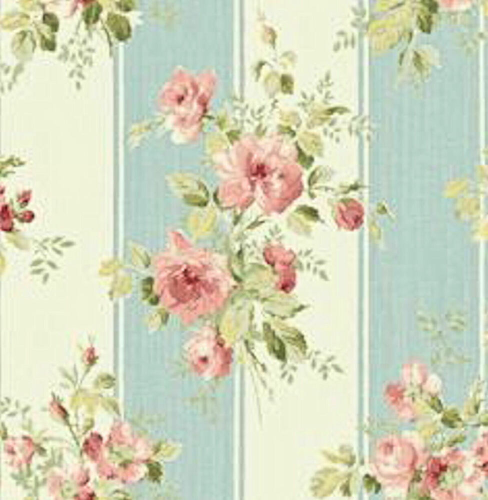 dollhouse miniature shabby chic wallpaper pink roses blue stripe floral 1 12 ebay. Black Bedroom Furniture Sets. Home Design Ideas