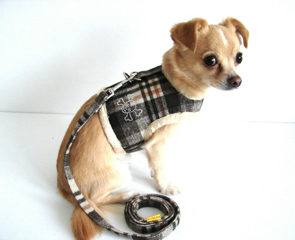 Car Harness Dog >> Small Dog Harness and Lead Set Brown Check Crystals Coat Chihuahua Pug Size XS-L | eBay