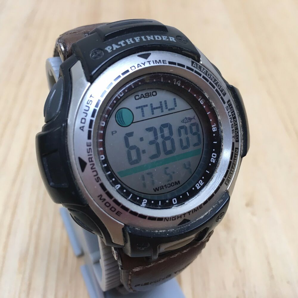Casio pathfinder pas 400b men digital alarm chrono fishing for Casio fishing watch