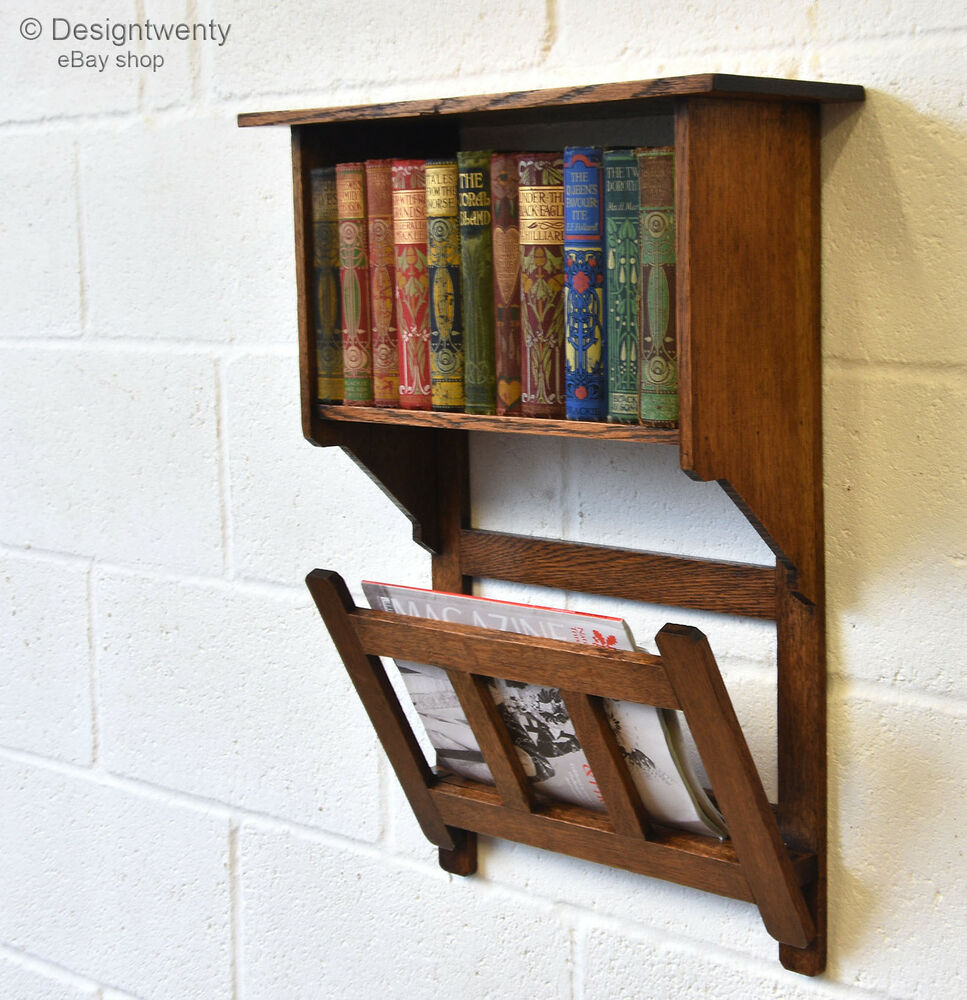 Arts Crafts Oak Wall Hanging Book Shelf Paper Rack