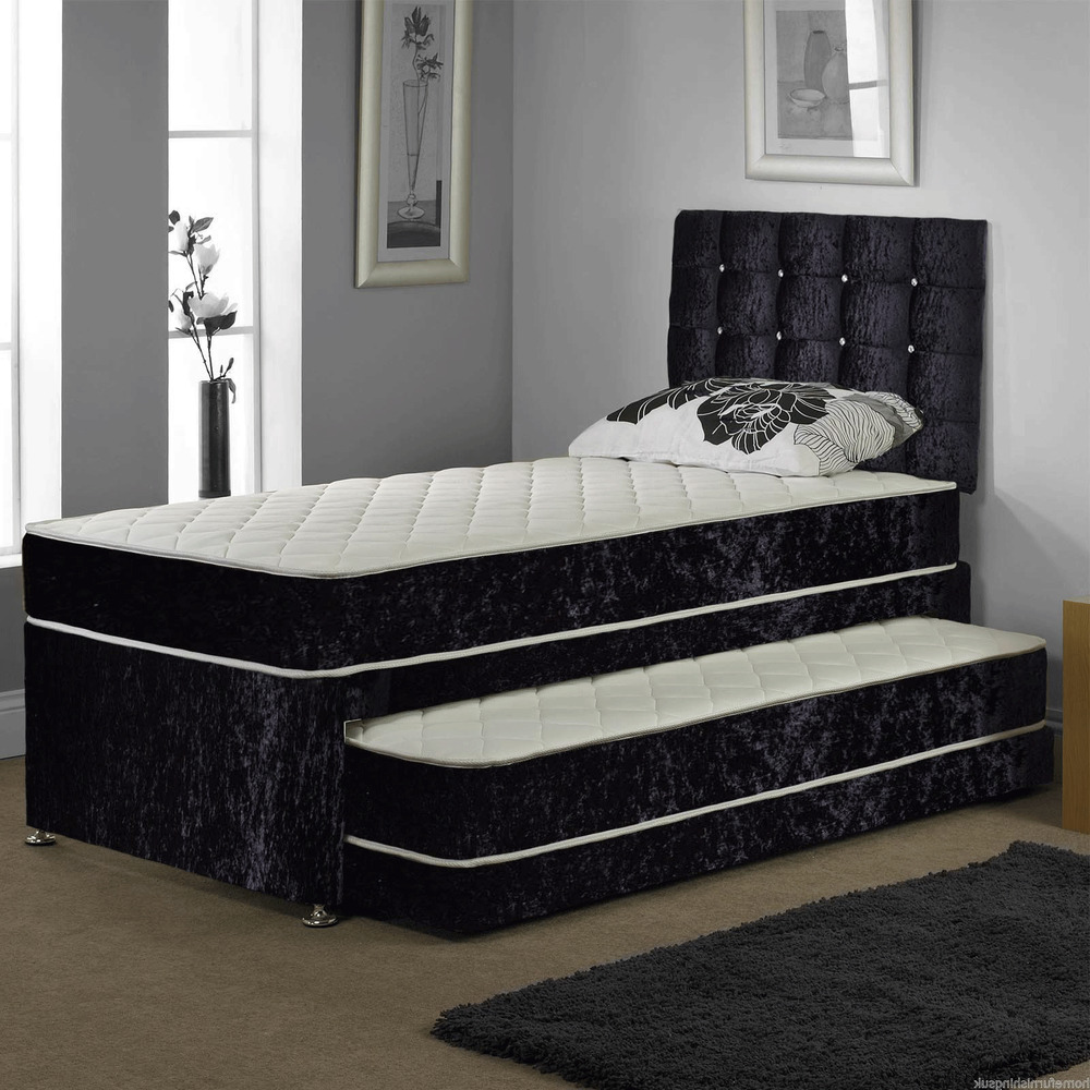 3ft single velvet guest bed 3 in 1 with mattress pullout trundle bed set