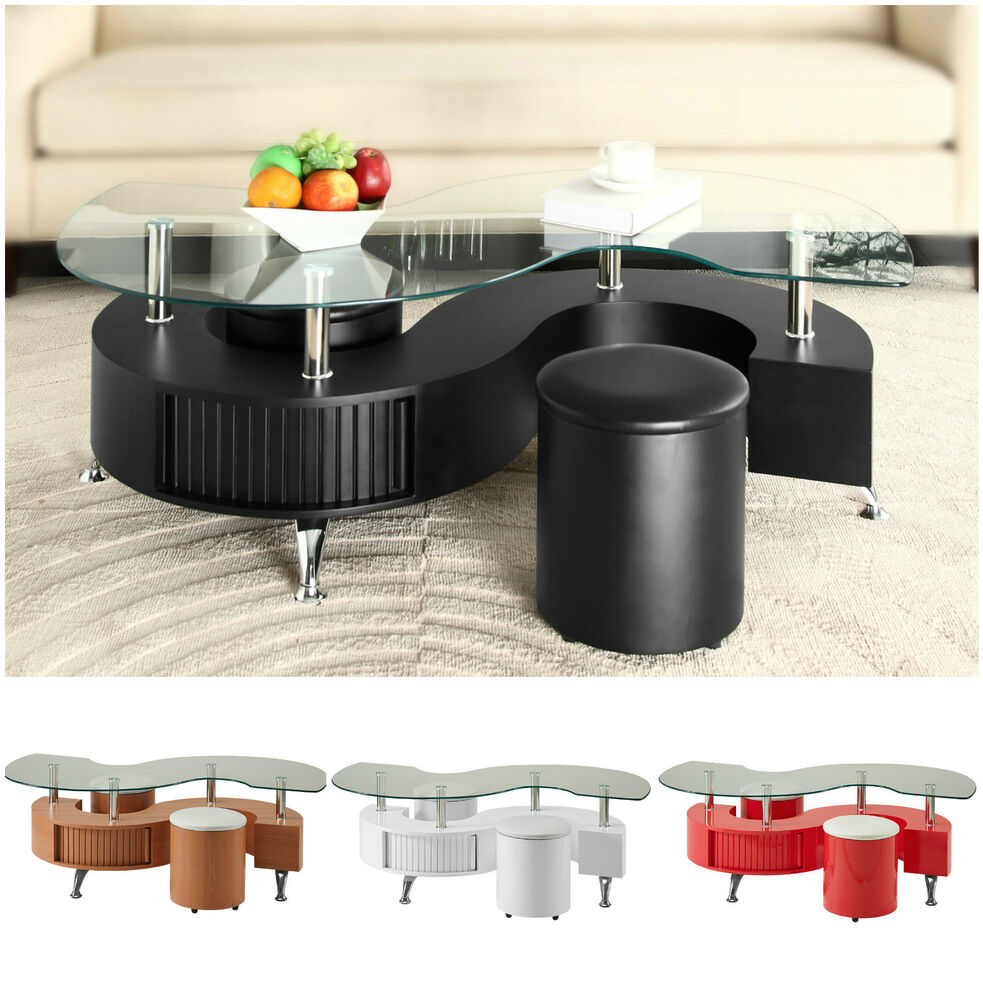 S Shape Curve Glass Coffee Table With 2 Stools Faux