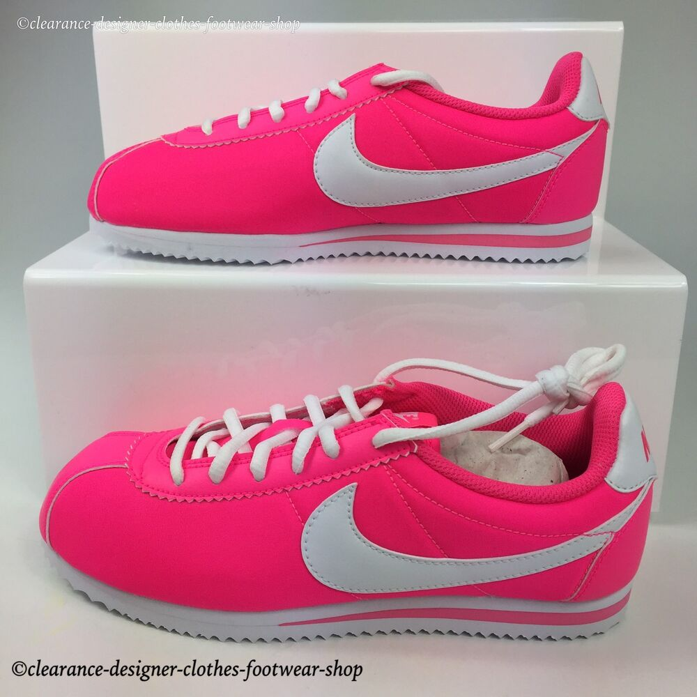 Nike Cortez Nylon Gs Trainers Womens Pink Classic Retro Casual Shoe