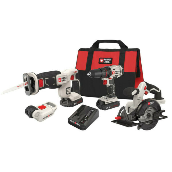 Porter-Cable Cordless Lithium-Ion 4-Tool Combo Kit PCCK616L4R Reconditioned