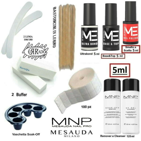 Kit Semipermanente Unghie Gel Polish 5ml Mesauda Milano completo di accessori.