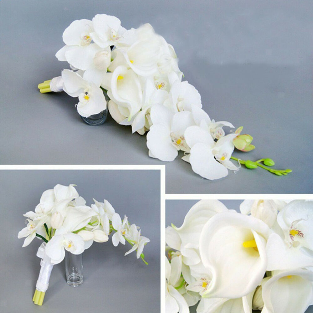 Wedding Flowers For Bridal Party: Cascade Bridal Bouquet Calla Lily Orchid Wedding Party