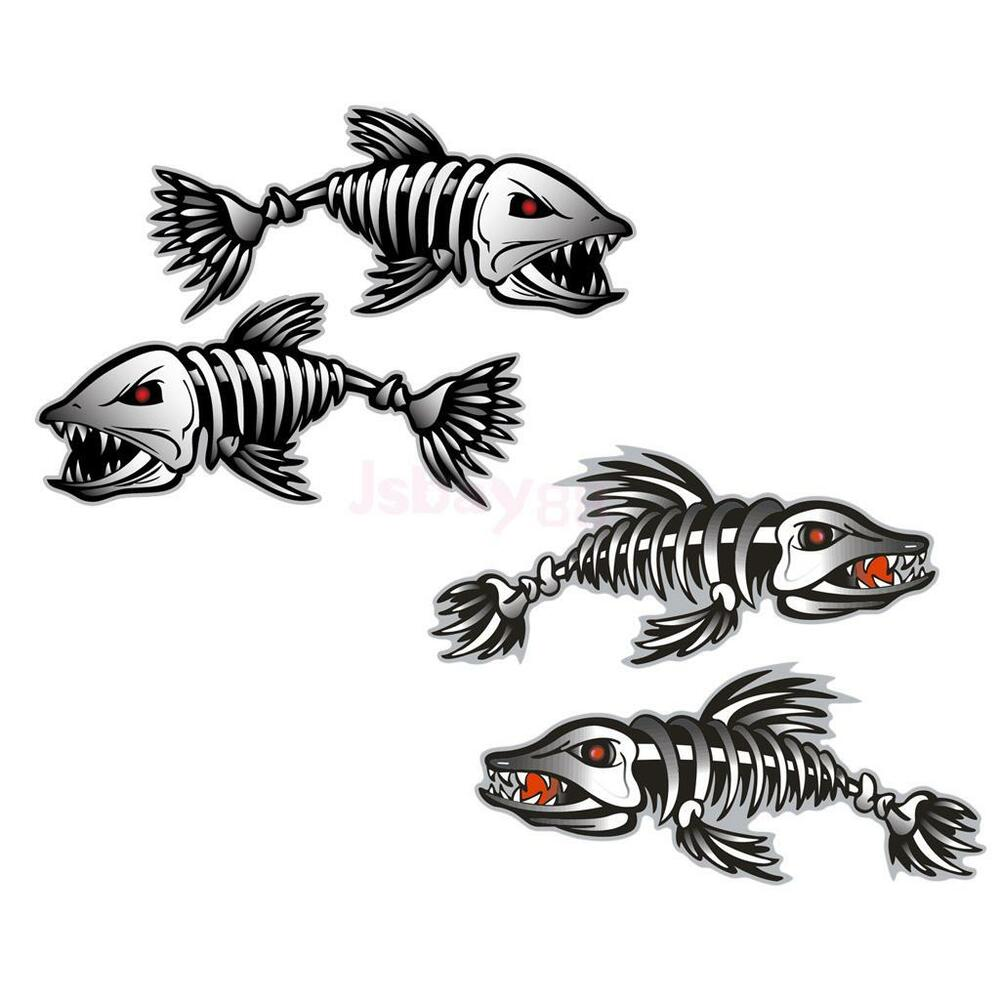 4 pieces kayak decals fishing boat car wall stickers