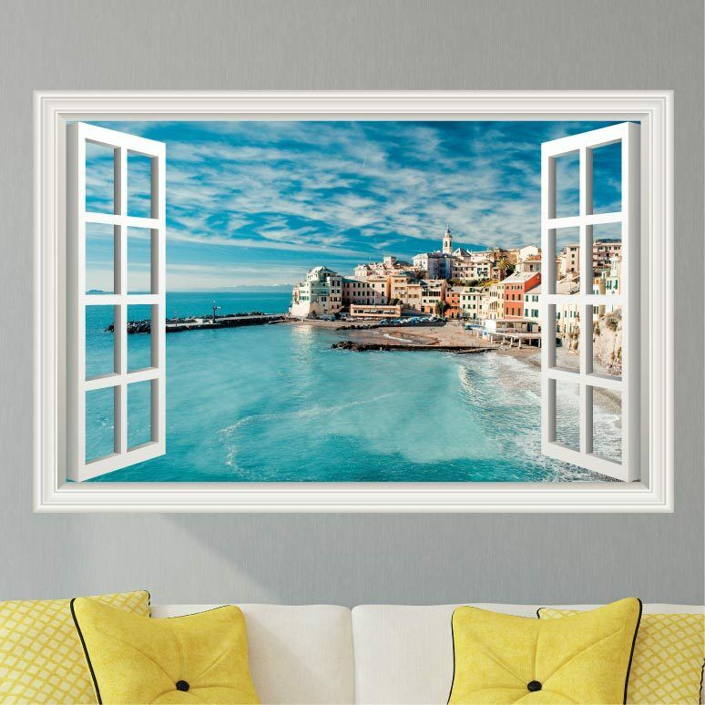 Italy Ocean Beach Scene Wall Decal Sticker Graphic Art 4 Size Options