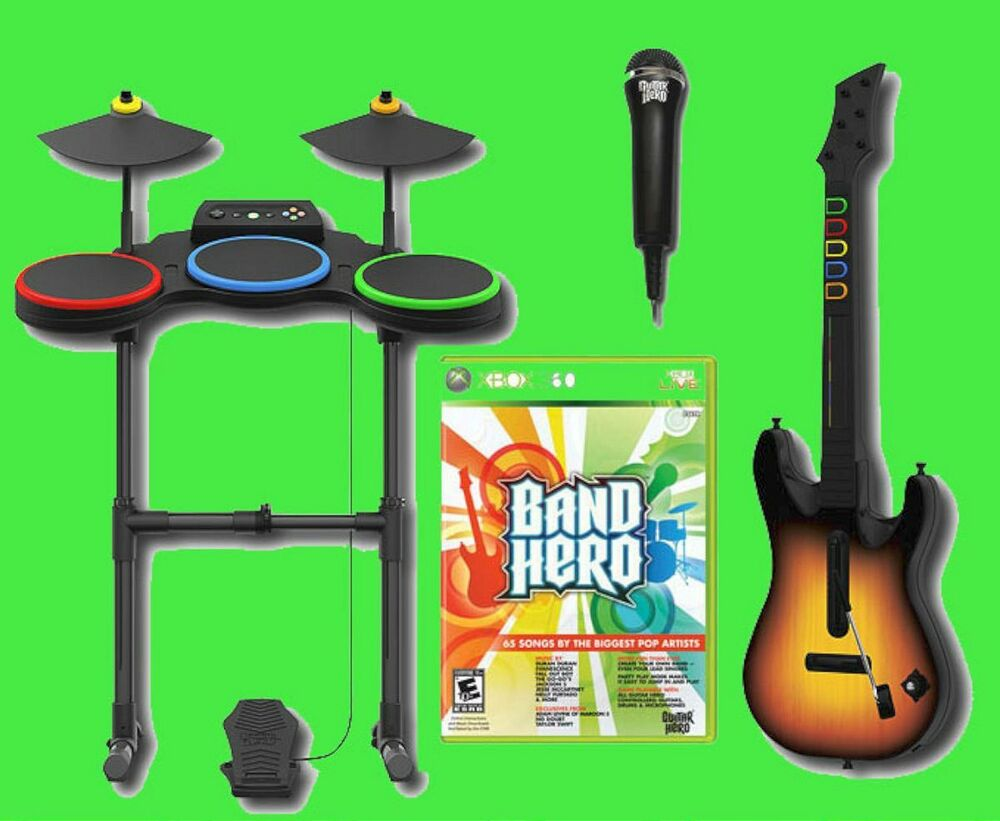 xbox 360 band hero video game bundle set w guitar drums mic kit microphone ebay. Black Bedroom Furniture Sets. Home Design Ideas