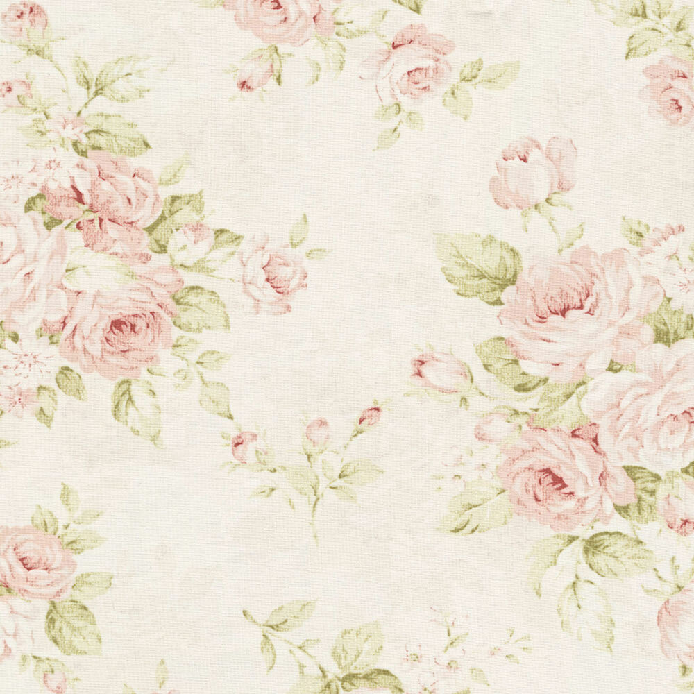 Dollhouse Miniature Wallpaper Shabby Chic Pink Floral 1:12