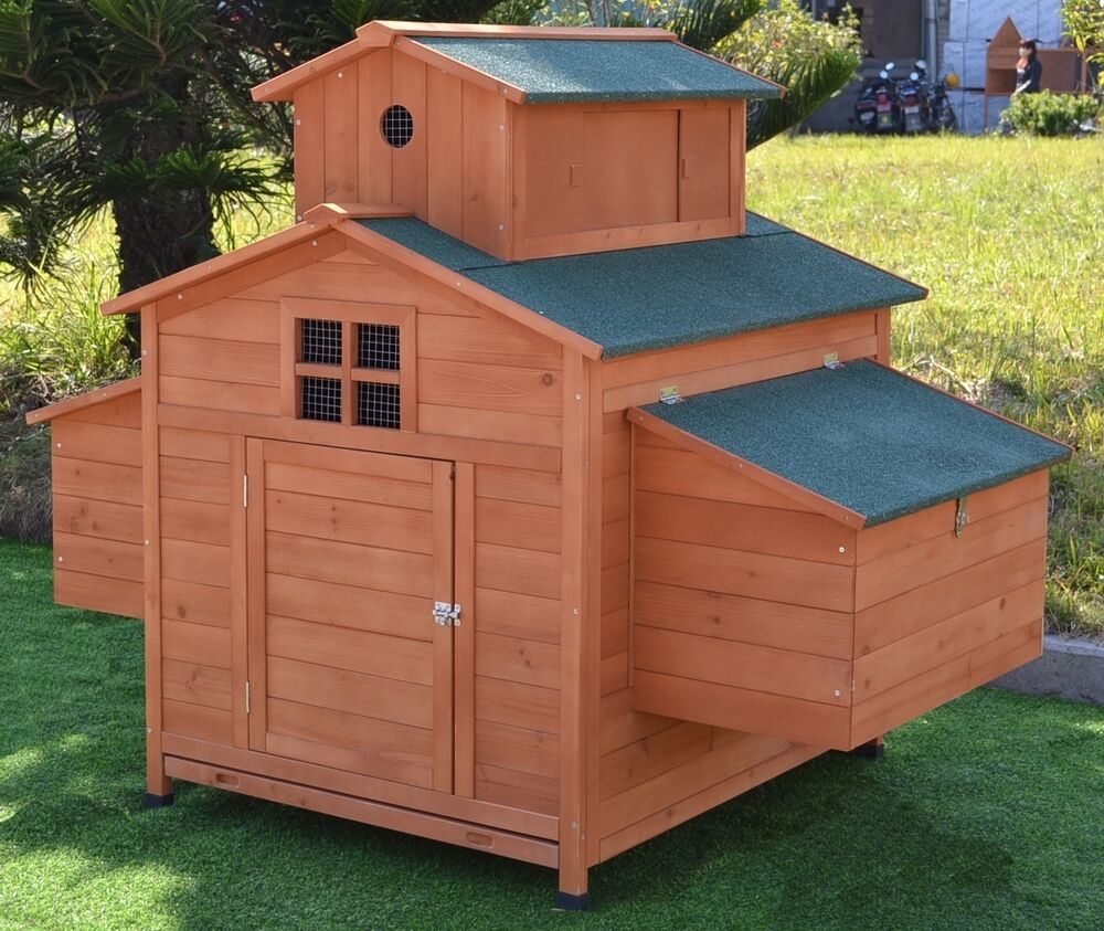 Deluxe large wood chicken coop backyard hen house 6 10 for Chicken coop size for 6 chickens