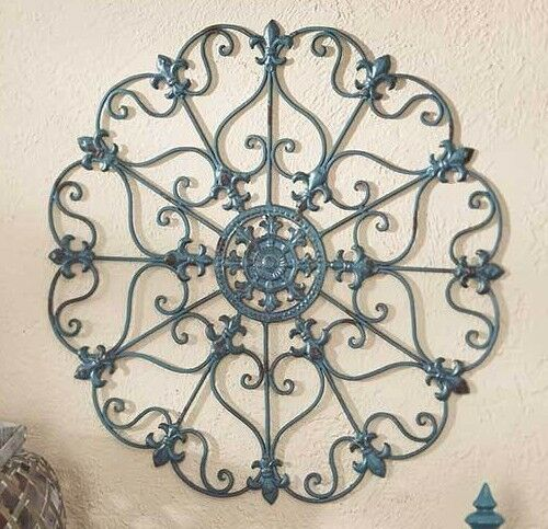 Teal Scrolled Wall Round Metal Medallion Entryway Dining