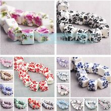Charms 10pcs 10mm Flowers Pattern Ceramic Porcelain Loose Spacer Beads