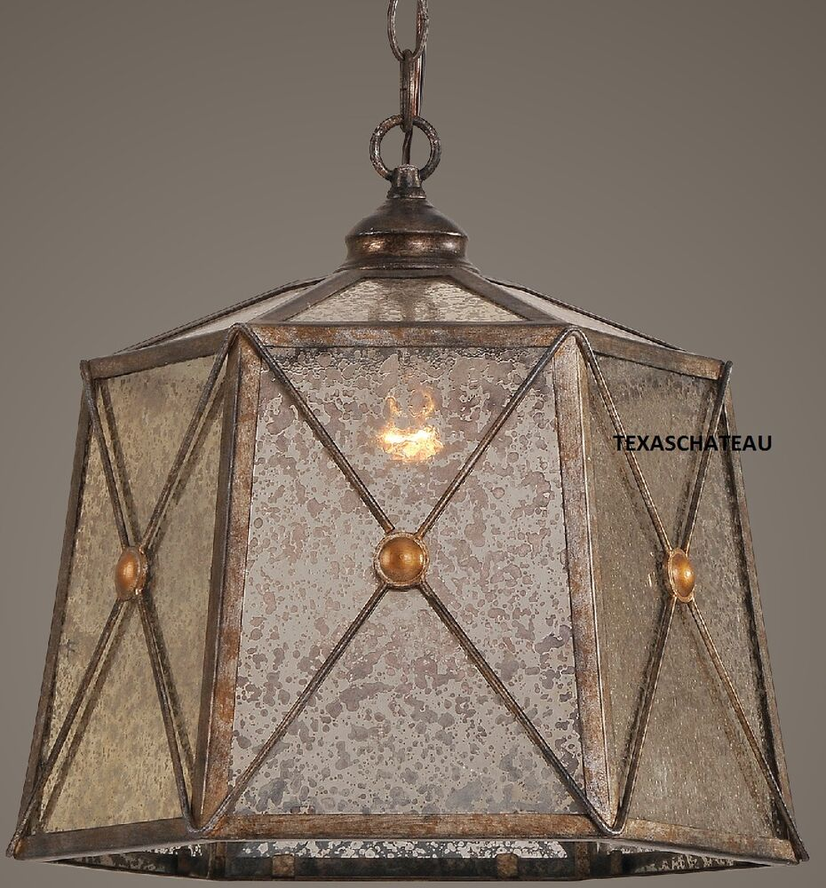 FARMHOUSE ANTIQUE BRONZE & SILVER PENDANT LIGHT FIXTURE