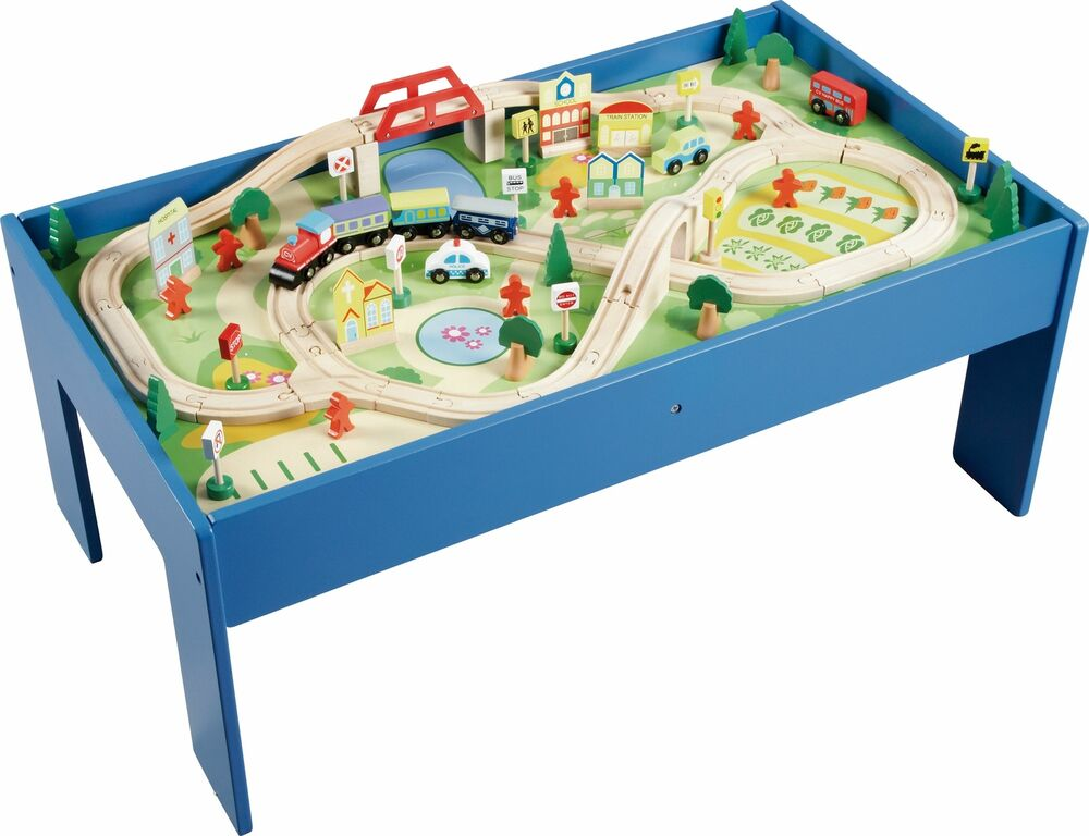 Chad Valley Wooden Table and 90 Piece Train Set - 3+ Years - Argos eBay  sc 1 st  eBay & Wooden Train Table | eBay