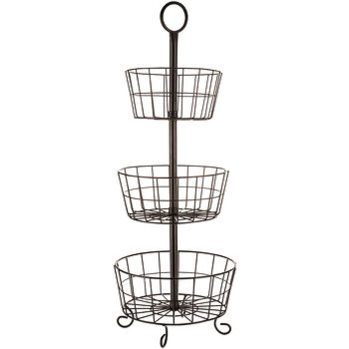 Metal Wire 3 Tier Rack Display Stand Antique Style Basket