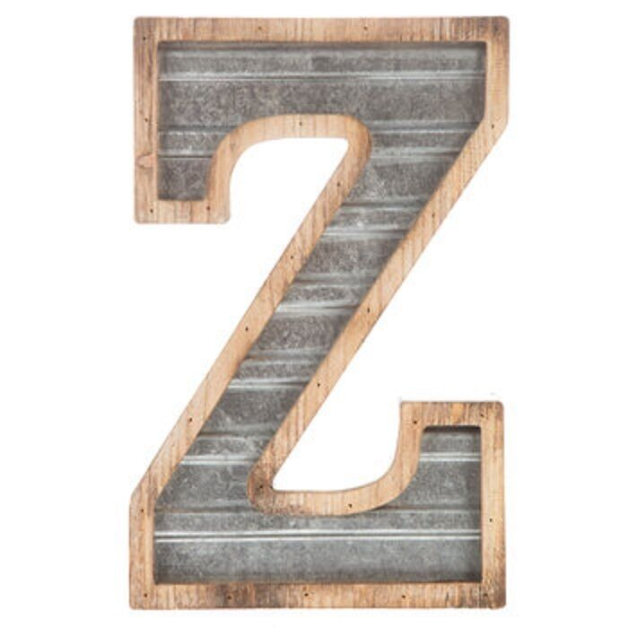 Large Wood Amp Galvanized Metal Letter Z Marquee Sign Wall