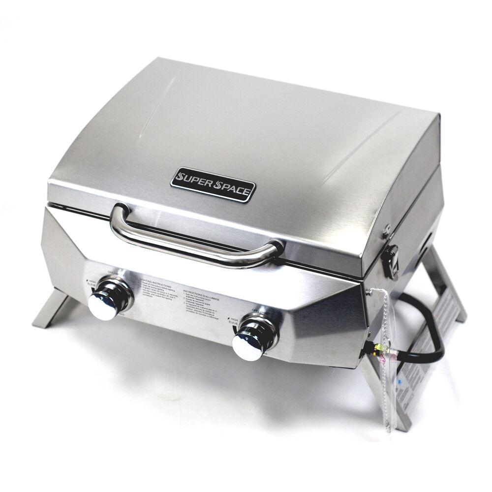 Superspace 20 000 btu 2 burner stainless steel bbq tabletop propane gas grills ebay - Grill for bbq stainless steel ...