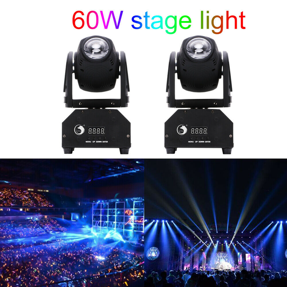 2pcs 60w led mini beam stage lighting moving head lights dmx512 party dj light ebay. Black Bedroom Furniture Sets. Home Design Ideas