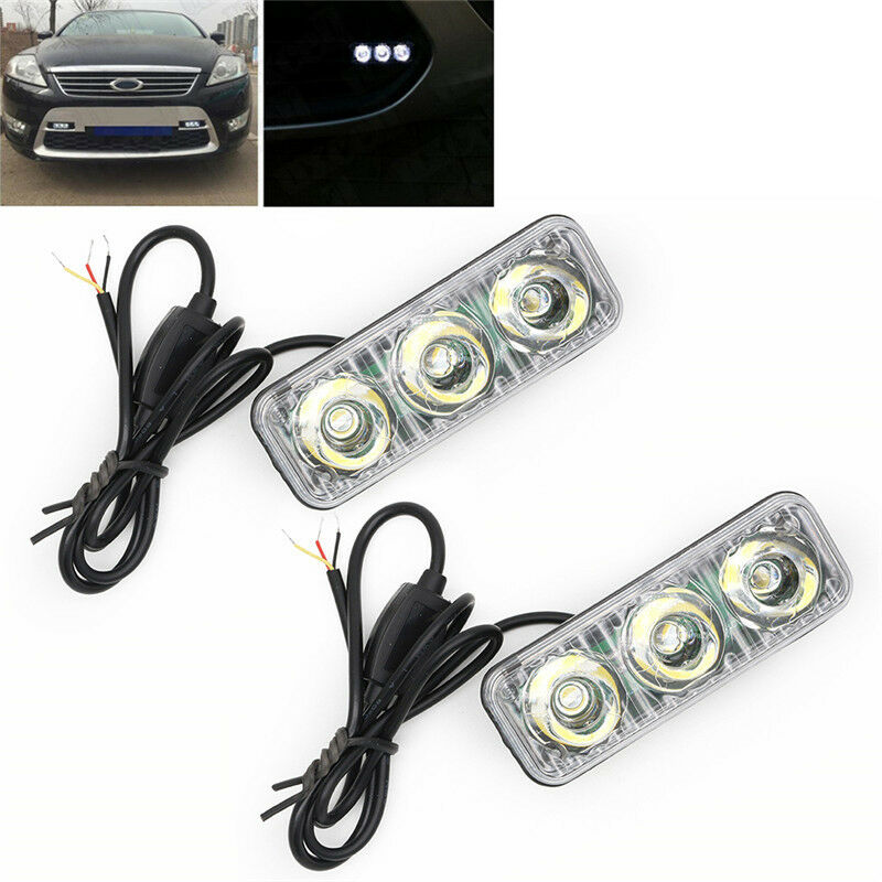 2x 3 led voiture auto feux de jour drl circulation diurne lumiere lamp blanc 12v ebay. Black Bedroom Furniture Sets. Home Design Ideas