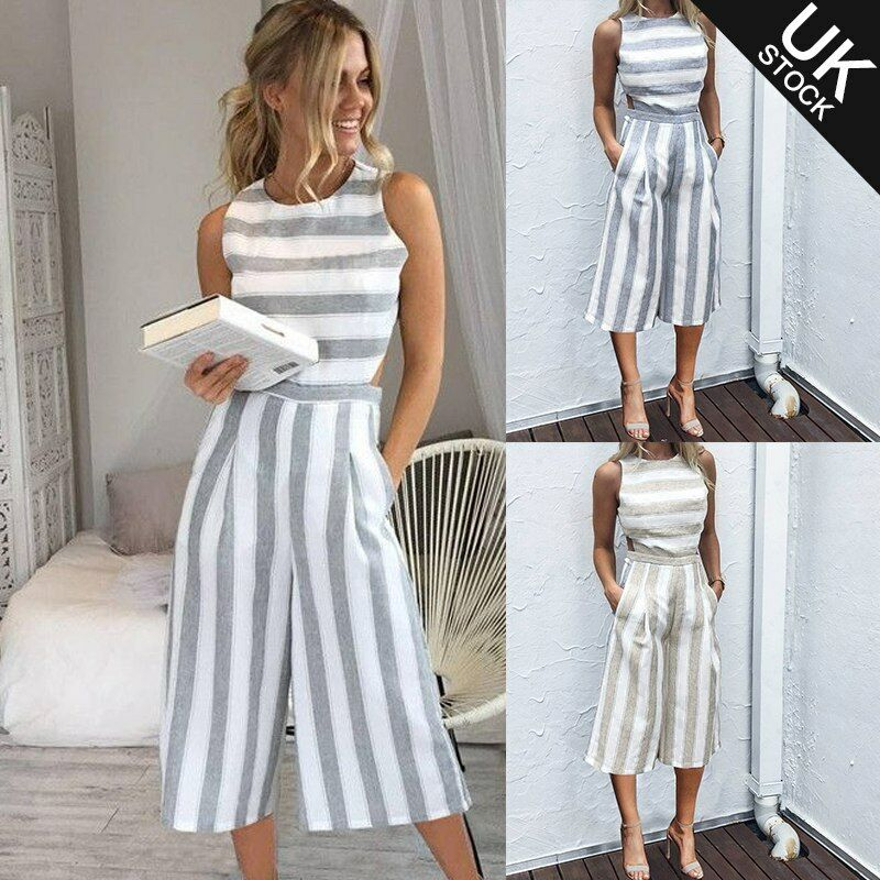 bea9951e550f Details about Ladies Women Summer Striped Jumpsuit Sleeveless Clubwear Wide  Leg Pant Outfits