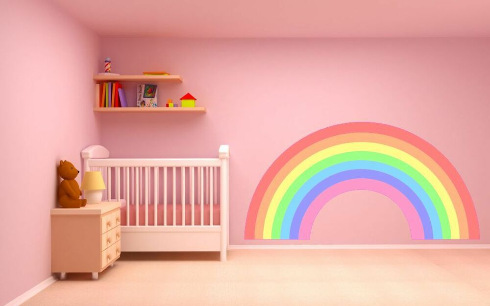 wall stickers for kids bedrooms rainbow wall sticker pastel colours plain childrens 20098