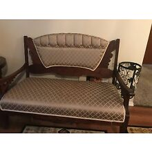 victorian antique setee and chair