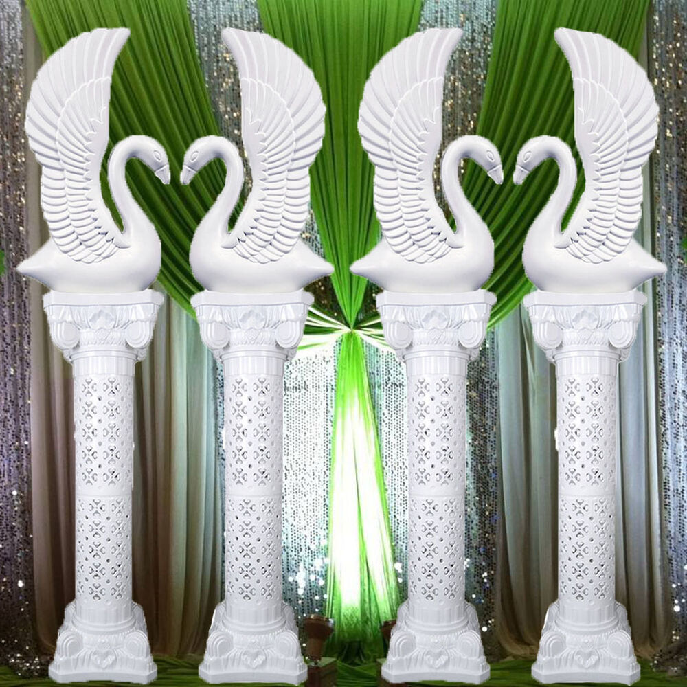 Wedding Flower Pillars: Elegant White Decorative Plastic Swans And Roman Wedding