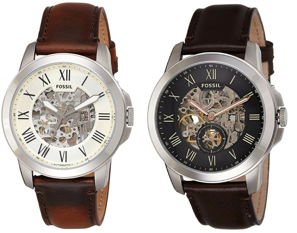 Fossil men 39 s grant automatic skeleton dial leather watch multiple variations ebay for Leather watch for men
