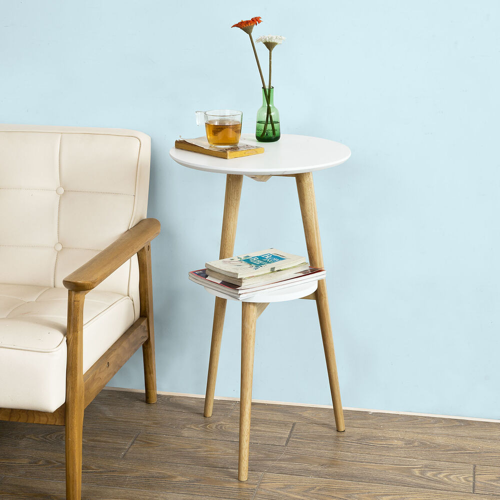 Sobuy 174 2 Tier Round Wooden Side Table Tea Coffee Table