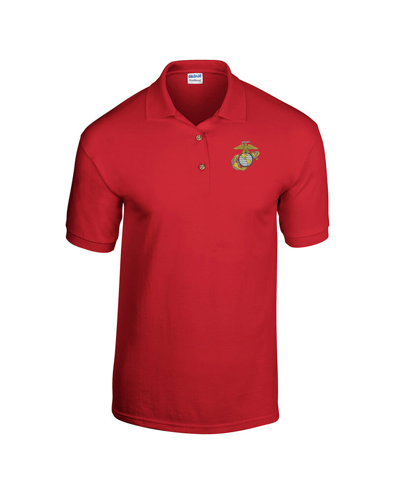 US Marine Corps Eagle Anchor Globe Embroidered Polo Shirt ...