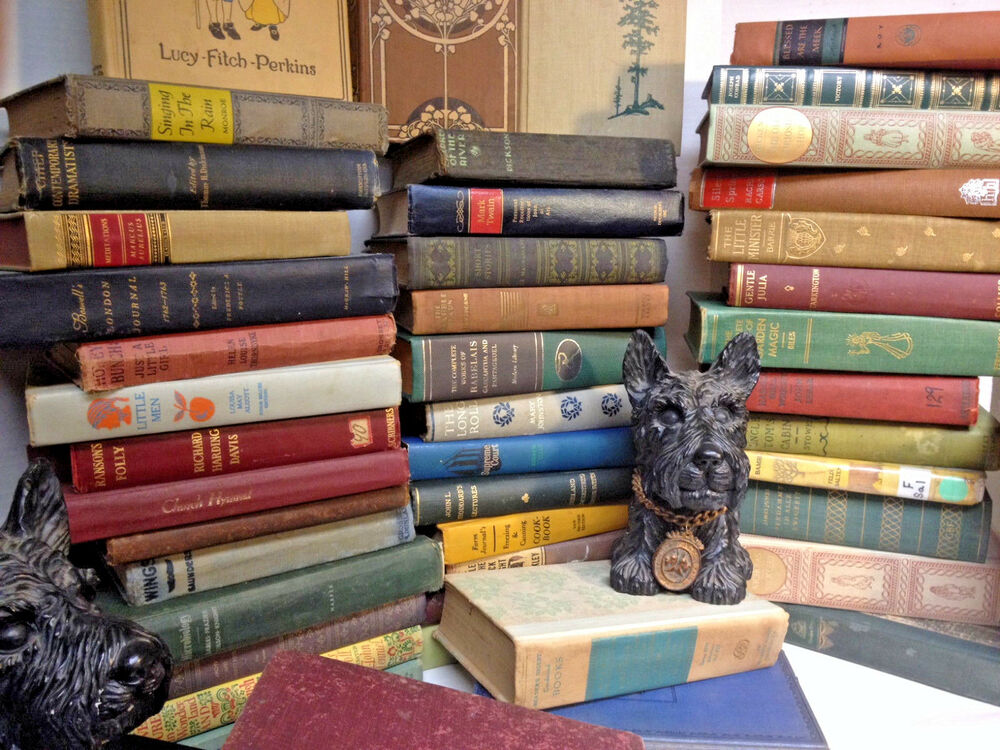 books antique lot hardcover unsorted mixed collectible antiquarian decor rare children
