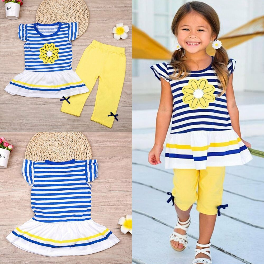 e6c73f8ee Toddler Kids Baby Girls Outfits T-shirt Tops+Shorts Pants Summer ...
