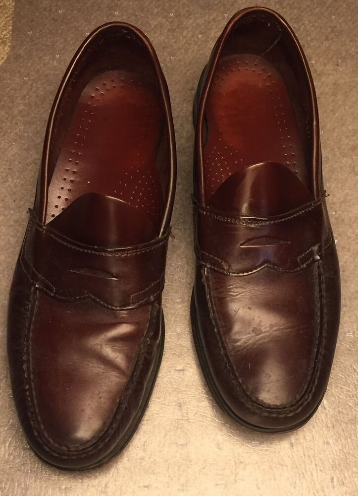f6bc0521a Details about Dexter Penny Loafers Burgundy Leather handsewn USA