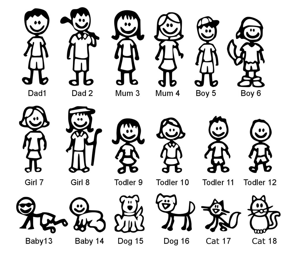 funny my stick figure family member characters car body