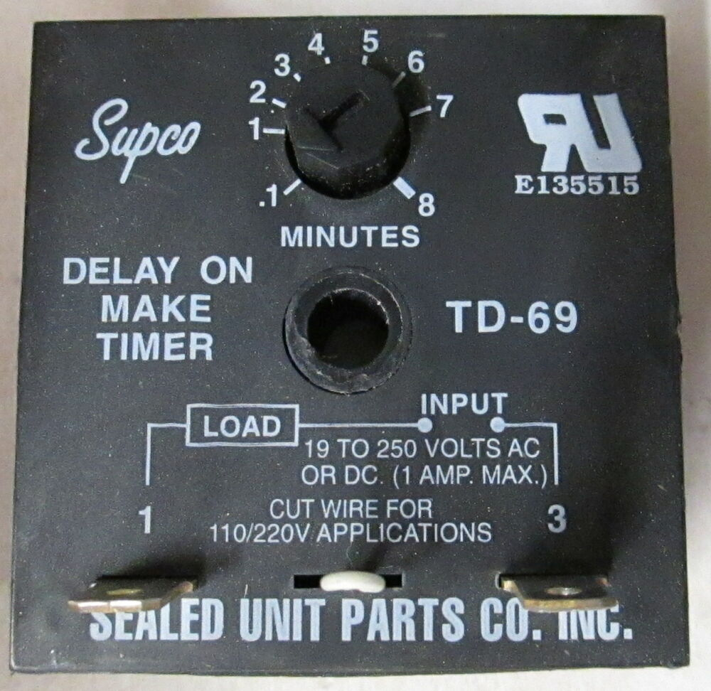 Supco Td 69 Solid State Delay On Make Timer 6 Seconds To 8 Minutes Ebay Spstno 40 Amp 100 Vdc Typical Condition