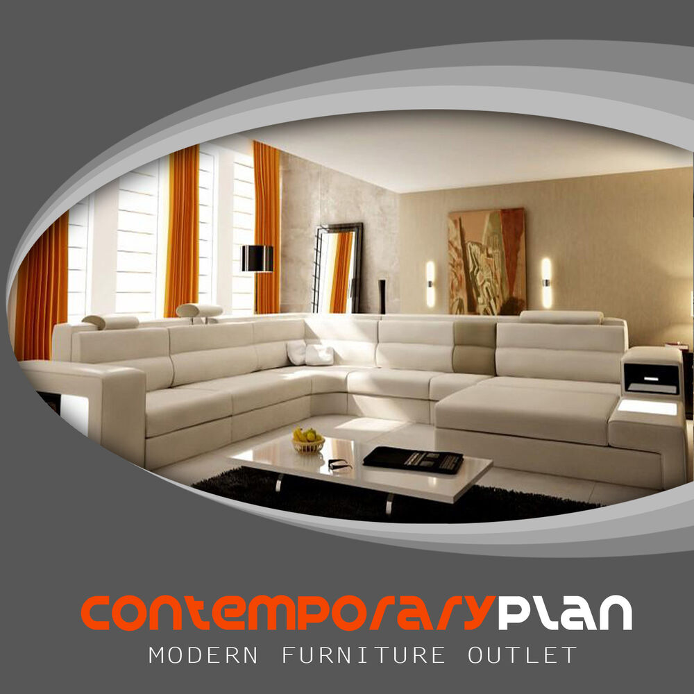 Polaris Cream Italian Leather Sectional Sofa with Taupe Accent ...