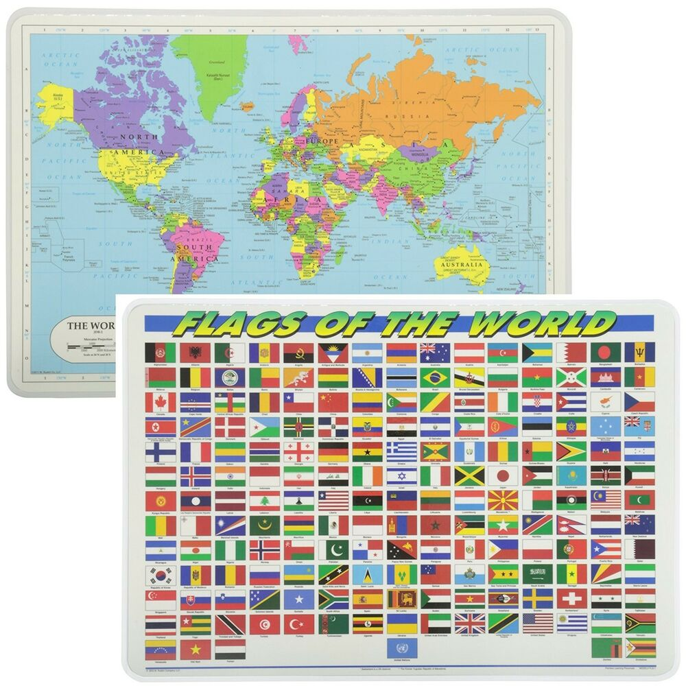 Map Of The World Flags.Painless Learning Educational Placemats World Map And World Flags Set Non Slip Ebay