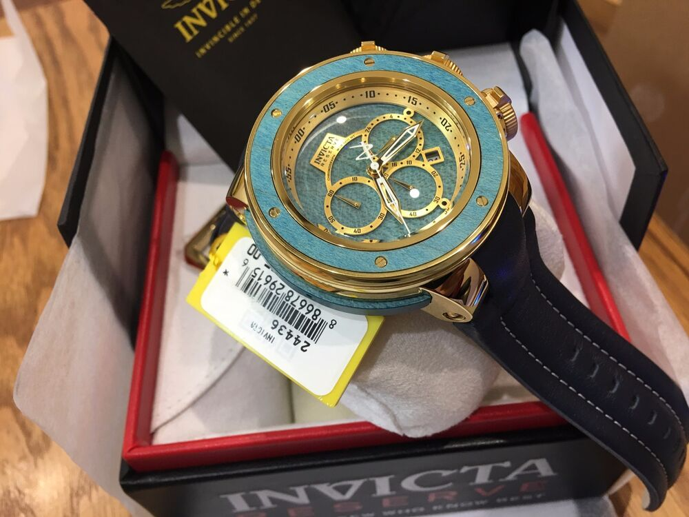 new product 0c1ca e36e6 Details about 24436 Invicta Reserve Subaqua Sea Dragon Chrongraph Maple  Wood Inlay Strap Watch